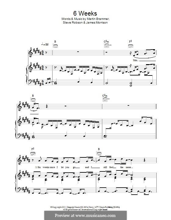 6 Weeks: Para vocais e piano (ou Guitarra) by James Morrison, Martin Brammer, Steve Robson