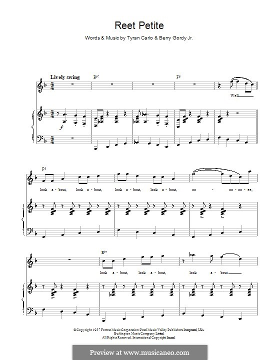 Reet Petite (The Sweetest Girl in Town): Para vocais e piano by Berry Gordy, Tyran Carlo