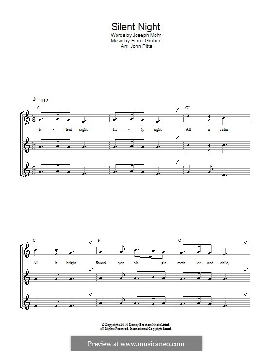Silent Night (Printable): For recorder (trio) by Franz Xaver Gruber