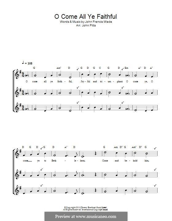 O Come, All Ye Faithful (Printable Scores): Para gravador (trio) by John Francis Wade