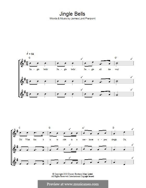 Jingle Bells (Printable scores): para gravar by James Lord Pierpont