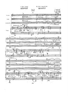 Piano Quartet in A Minor, Op.31: movimento I by Georgy Catoire