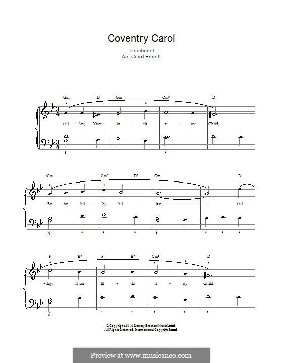 Coventry Carol: Para vocais e piano by folklore