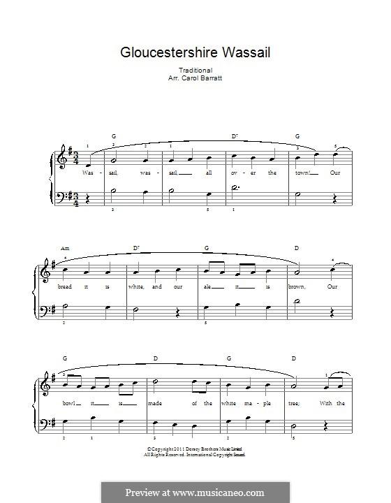Gloucestershire Wassail: Para vocais e piano by folklore