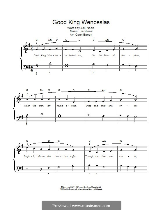 Good King Wenceslas: Partitura Piano-vocal by folklore