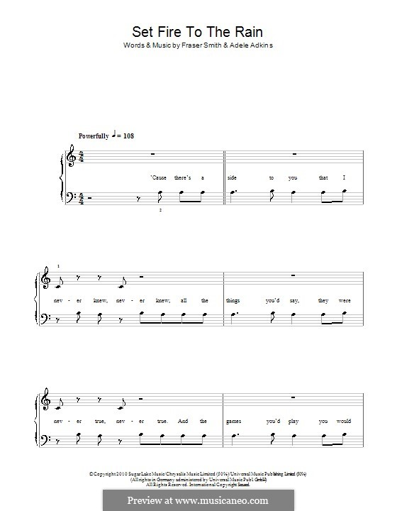 Set Fire to the Rain: For easy piano (A Minor) by Adele, Fraser T. Smith