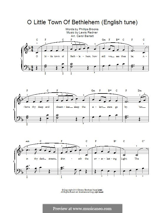 O Little Town of Bethlehem: Para vocais e piano by Lewis Henry Redner