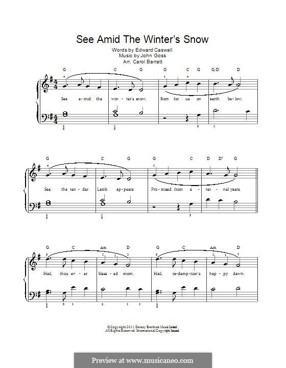 See Amid the Winter's Snow: Para vocais e piano by John Goss