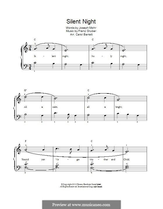 Silent Night (Printable): Para vocais e piano by Franz Xaver Gruber