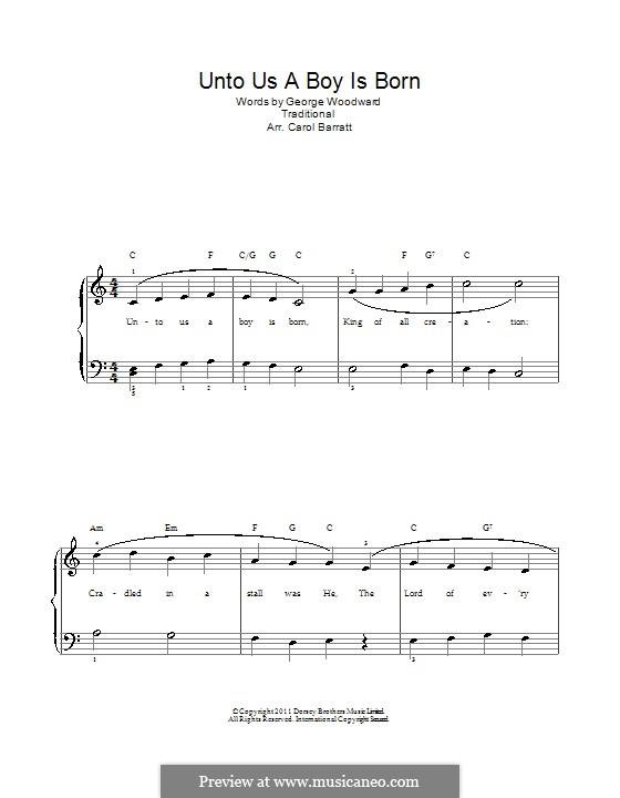 Unto Us a Boy Is Born: Para vocais e piano by folklore