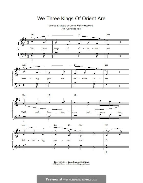 We Three Kings of Orient are: Partitura Piano-vocal by John H. Hopkins Jr.