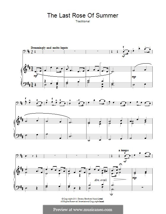 The Last Rose of Summer: para Violoncelo e piano by folklore