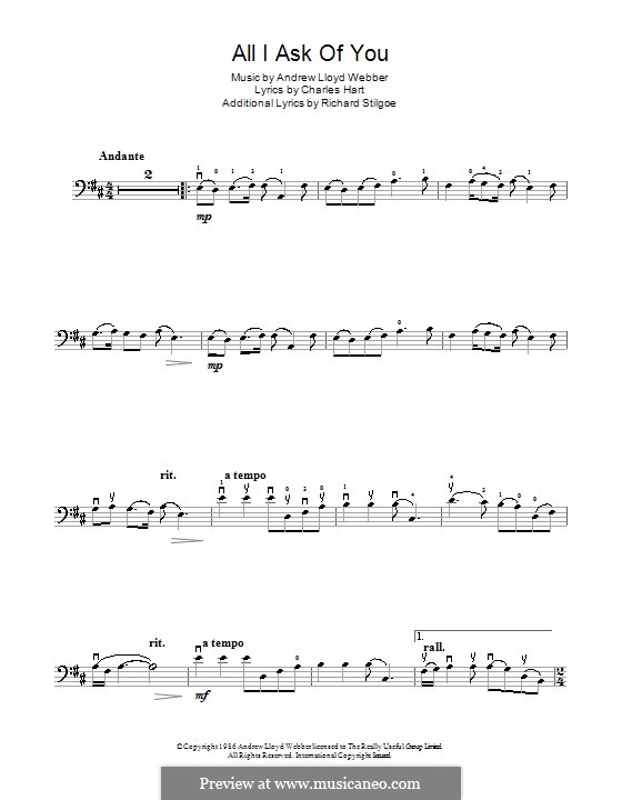 All I Ask of You: para violoncelo by Andrew Lloyd Webber