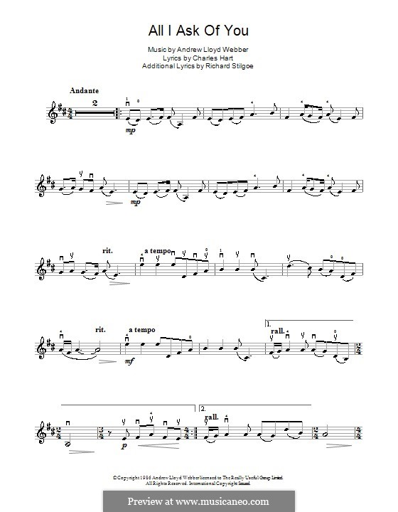 All I Ask of You: para violino by Andrew Lloyd Webber