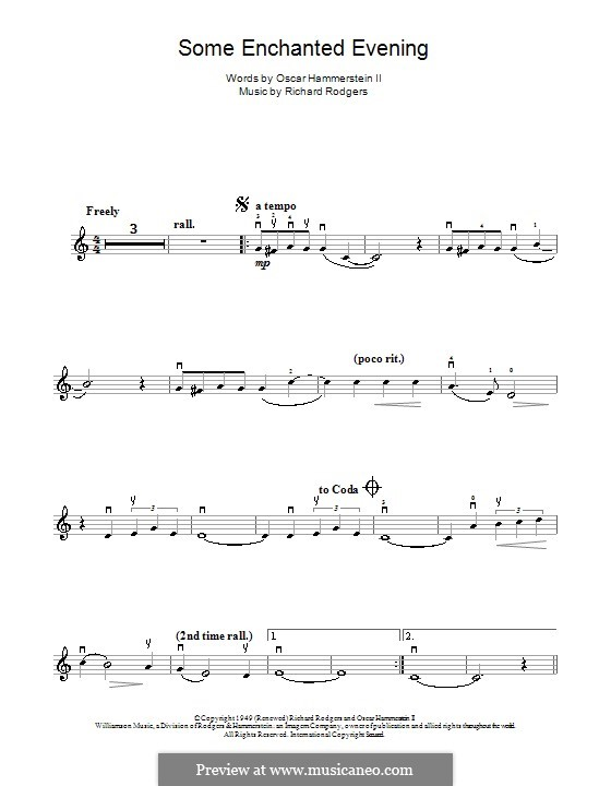 Some Enchanted Evening (from South Pacific): para violino e piano - parte solo by Richard Rodgers
