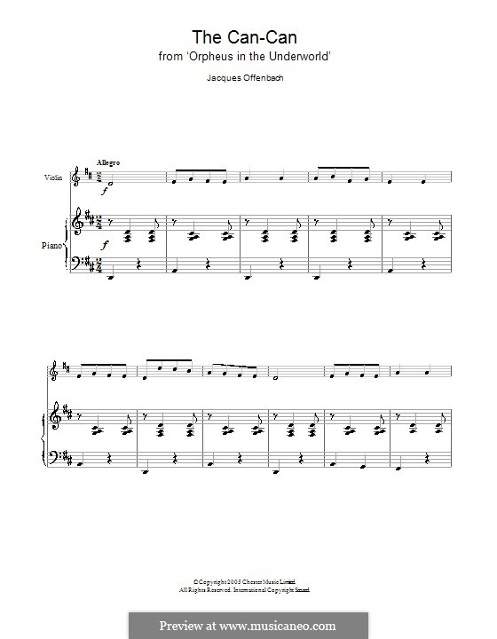 Can-Can (Printable Scores): para violino by Jacques Offenbach
