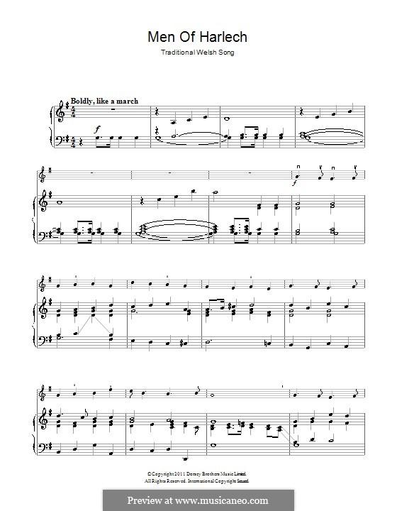 Men of Harlech: para violino by folklore