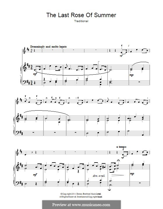 The Last Rose of Summer: para violino by folklore