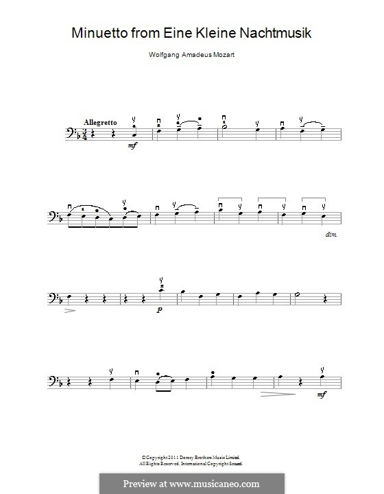 Minuet: para violoncelo e piano - parte violoncelo by Wolfgang Amadeus Mozart