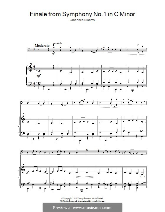 Movement IV: Theme. Version for cello and piano by Johannes Brahms
