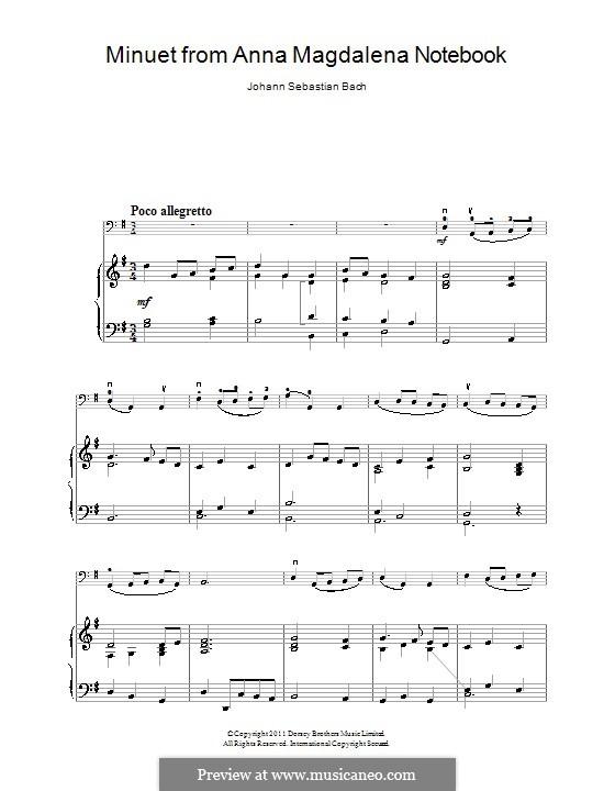 No.4 Minuet in G Major, BWV Anh.114: para Violoncelo e piano by Johann Sebastian Bach