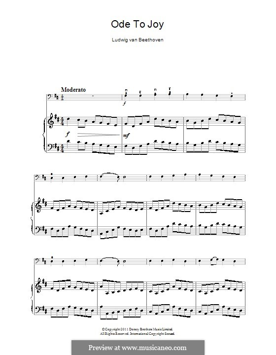 Ode to Joy (Printable scores): Version for cello and piano by Ludwig van Beethoven