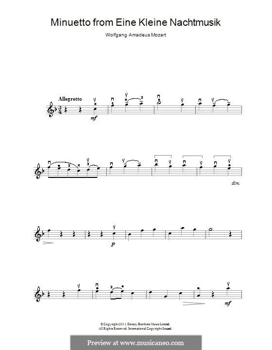 Minuet: para violino e piano - parte violino by Wolfgang Amadeus Mozart