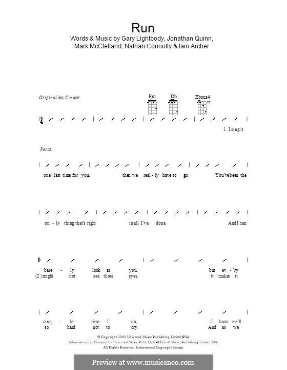 Run: ukulele com parte dedilhada by Gary Lightbody, Iain Archer, Jonathan Quinn, Mark McClelland, Nathan Connolly