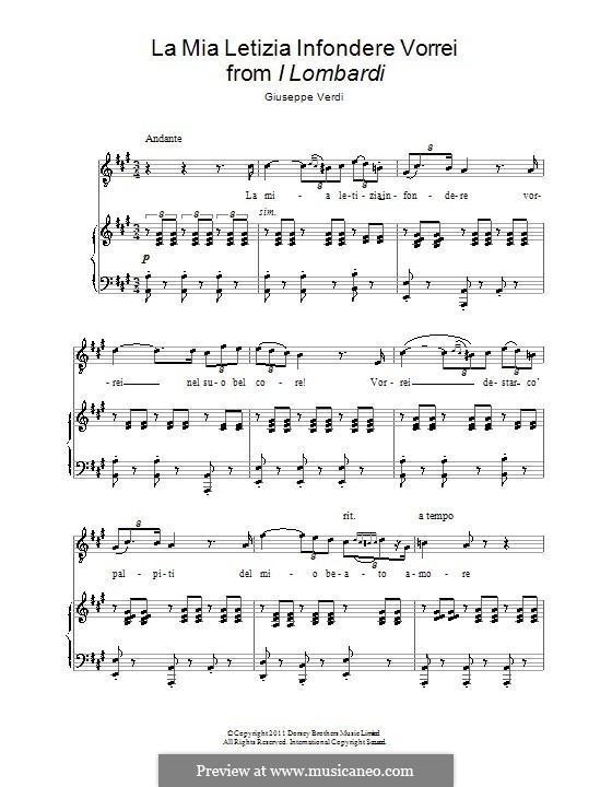 The Lombards on the First Crusade: La mia letizia infondere vorrei, for voice and piano by Giuseppe Verdi