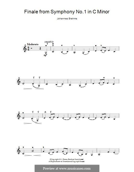 Movement IV: Theme. Version for violin by Johannes Brahms