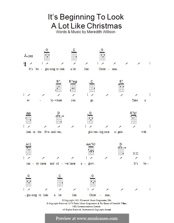 It's Beginning to Look a Lot Like Christmas (Perry Como): ukulele com parte dedilhada by Meredith Willson