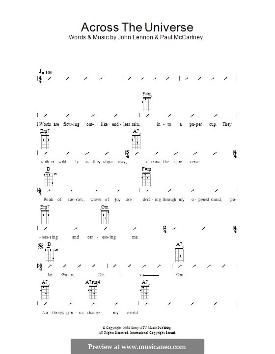 Across the Universe (The Beatles): para ukulele com dedilhado by John Lennon, Paul McCartney
