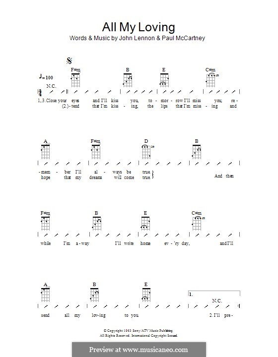 All My Loving (The Beatles): ukulele com parte dedilhada by John Lennon, Paul McCartney