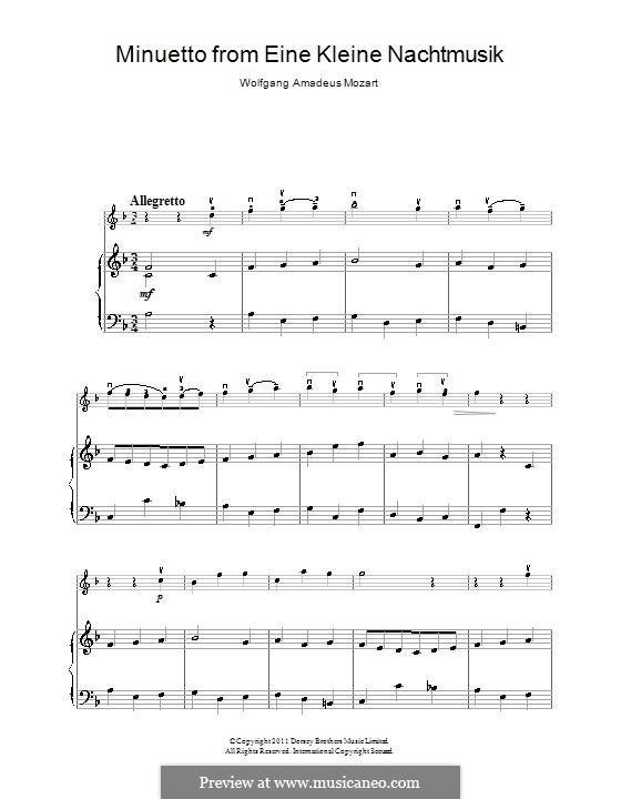 Minuet: para violino by Wolfgang Amadeus Mozart