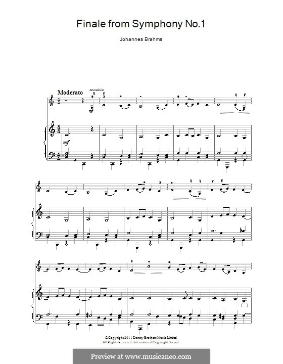 Movement IV: Theme. Version for violin and piano by Johannes Brahms