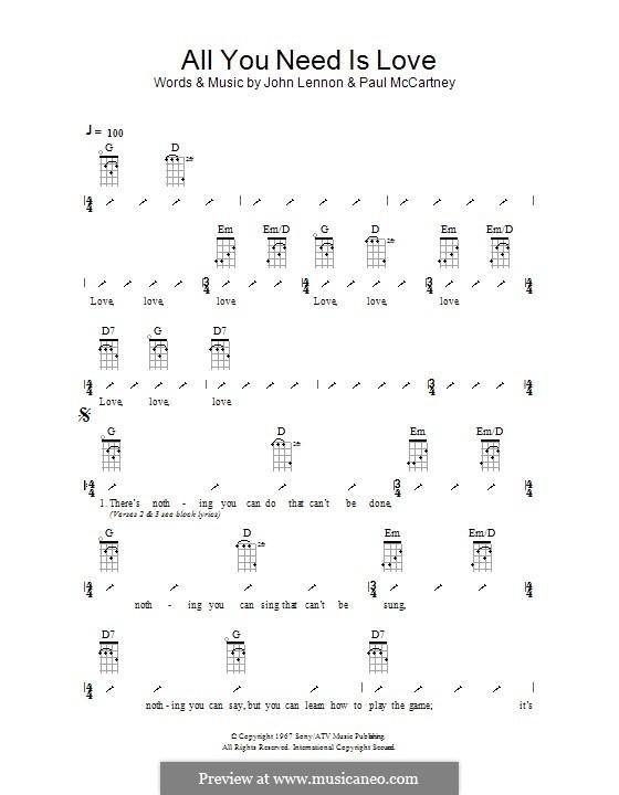 All You Need Is Love (The Beatles): ukulele com parte dedilhada by John Lennon, Paul McCartney