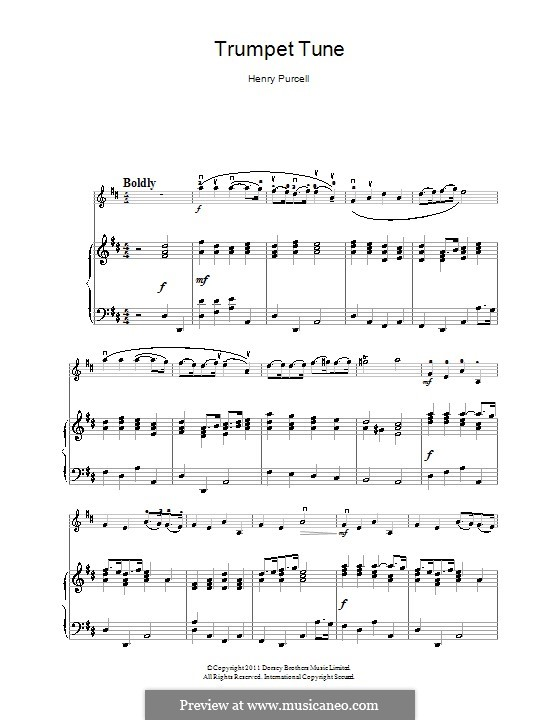 Trumpet tune and Air: para violino by Henry Purcell