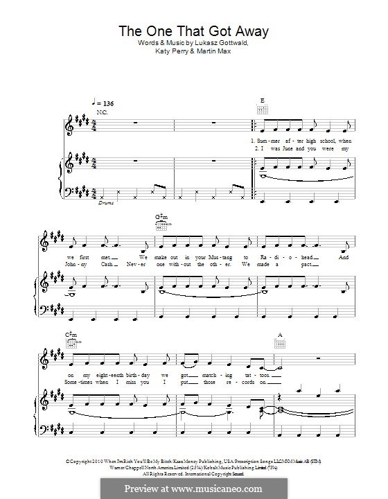The One That Got Away: Para vocais e piano (ou Guitarra) by Katy Perry, Lukas Gottwald, Max Martin