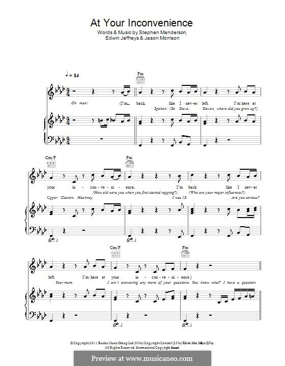 At Your Inconvenience (Professor Green): Para vocais e piano (ou Guitarra) by Edwin Jeffreys, Jason Morrison, Stephen Manderson