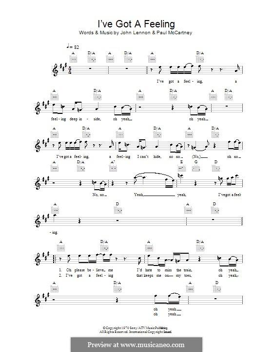 I've Got a Feeling (The Beatles): melodía,letras e acordes by John Lennon, Paul McCartney