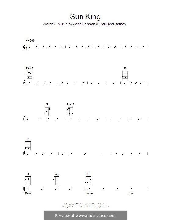 Sun King (The Beatles): para ukulele com dedilhado by John Lennon, Paul McCartney