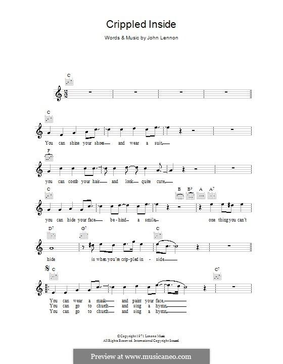Crippled Inside: melodía,letras e acordes by John Lennon
