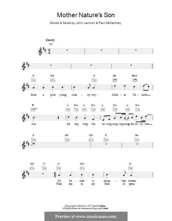 Mother Nature's Son (The Beatles): melodía,letras e acordes by John Lennon, Paul McCartney