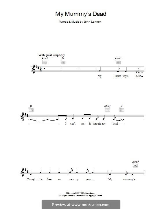 My Mummy's Dead: melodía,letras e acordes by John Lennon