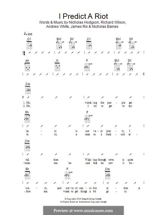 I Predict a Riot (Kaiser Chiefs): ukulele com parte dedilhada by Andrew White, James Rix, Nicholas Baines, Nicholas Hodgson, Charles Wilson