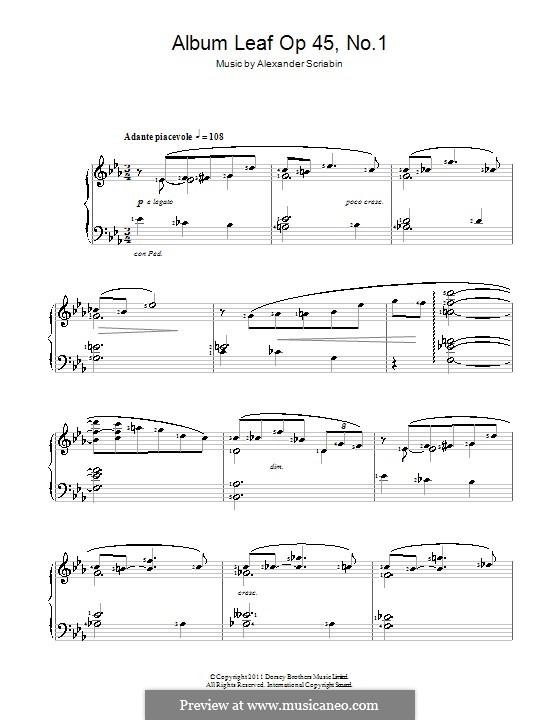 Three Pieces, Op.45: No.1 Feuillet d'album (Album Leaf) by Alexander Scriabin