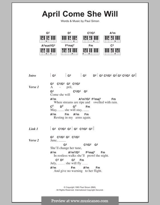 April Come She Will (Simon & Garfunkel): letras e acordes para piano by Paul Simon