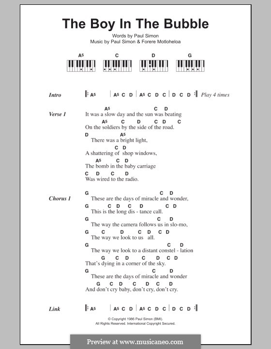The Boy in the Bubble: letras e acordes para piano by Forere Motloheloa, Paul Simon