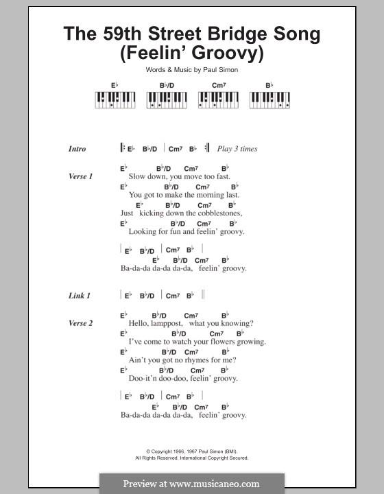The 59th Street Bridge Song (Feelin' Groovy): letras e acordes para piano by Paul Simon
