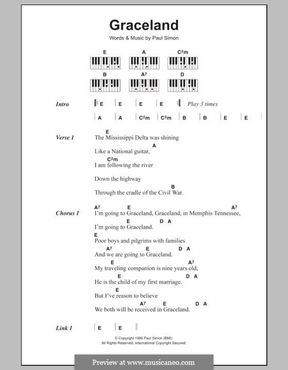 Graceland: letras e acordes para piano by Paul Simon